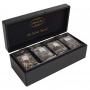 Teekoffer klein aus Holz für 4 Sorten Sachets Crystal