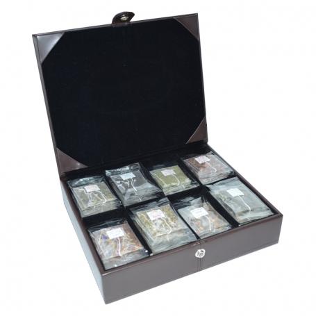 Teekoffer gross aus Kunstleder mit 64 Stk. Sachets Crystal